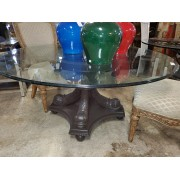 Painted KOI Fish Base Glass Top Table