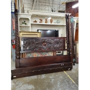 King Dark Carved Canopy Bed