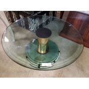 Round Glass Top / Modern Base Coffee Table