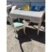 White Wicker Desk / Glass Top