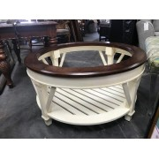 Round Cream / Brown Glass Top Coffee Table