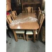 Brown / Wicker Dining Table With Six Chairs