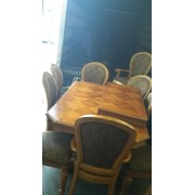 Wood Block Table With 8 Chairs AS IS