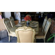Gold Ornate Table With Six Chairs