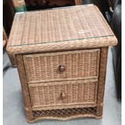 Brown Wicker Night Stand / Glass Top