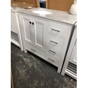 White Single Vanity With Marble Top