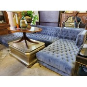 Three Piece Grey Sectional With Lucite Legs