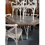 Round Wood Table With 6 Cream Chairs