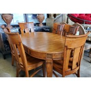 Thai Round Wood Dining Table With 6 Chairs