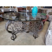 Large Round Ornate Metal Table / Glass Top