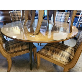 Wood / Glass Round Top Table