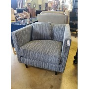 Blue Zig Zag Tweed Chair With Pillow