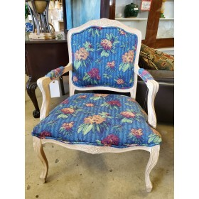 Wood / Blue Floral Chair