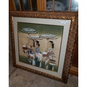Asian People Wall Art / Gold Frame