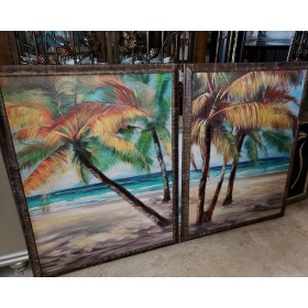 Palm Tree/Beach - Wood Frame Wall Hanging