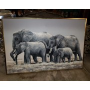 Large Elephant Canvas / Brass Frame