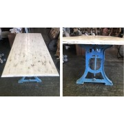 Industrial Blue / White Wood Dining Table