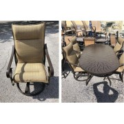 Metal Patio Table - Six Brown Chairs With Cushions