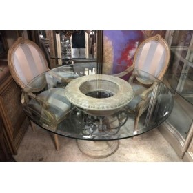 Stone / Metal Base - Glass Top Table