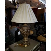 Burgundy / Gold Table Lamp With Shade