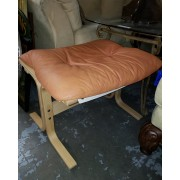 Orange / Wood Foot Stool