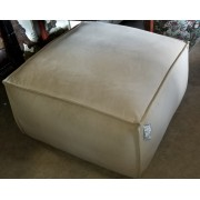 Cream Square Ottoman On Casters