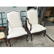 Wood / Cream Chair With Blue Trim