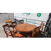 Round Wood Tropical Dining Table / 6 Chairs