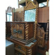 Wood Headboard / Armoire / Dresser & Two Mirrors