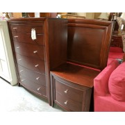 Queen Dark Wood Sleigh With Chest & 1 Night Stand