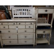 Queen Washed Bed With Dresser & Two Night Stands