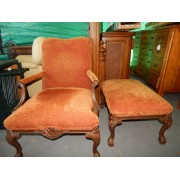 Red / Wood Chair & Ottoman