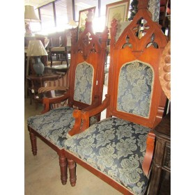 Wood High Back / Blue Cushion Chair