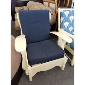 Yellow Wood Chair / Blue Cushion