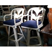 White Washed Bar Stool / Blue Cushion