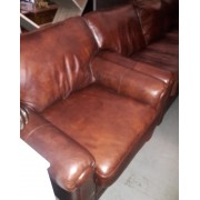 Brown Leather Chair & Ottoman