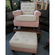 Tan/Red/Orange Chair With Ottoman