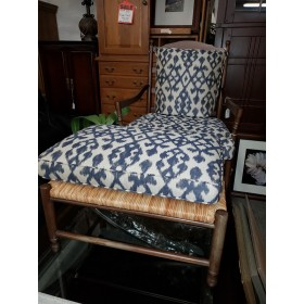 Wood Frame / Blue Print Chair & Ottoman