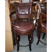 Wood Bar Stool / Leather Seat