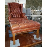 Brown Wingback Chair & Ottoman