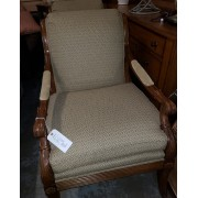 Carved Wood / Tan Chair