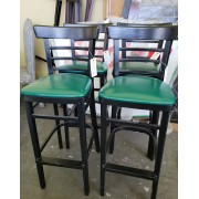 Black Bar Stool / Green Cushion