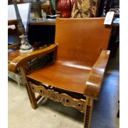 Spanish Carved Leather Chair & Ottoman