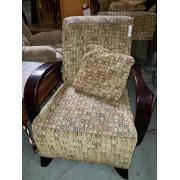 Beige / Wood Arm Chair With Pillow