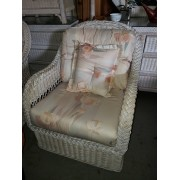 White Washed Wicker Chair / Peach Cushion