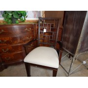 Dark Brown Arm Chair / Beige Seat