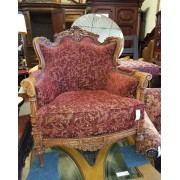 Red / Wood Ornate Arm Chair