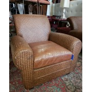 Wicker / Brown Leather Chair