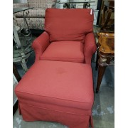 Wesley Allen - Red Arm Chair With Ottoman