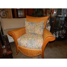 Wicker / Floral Cushion Chair